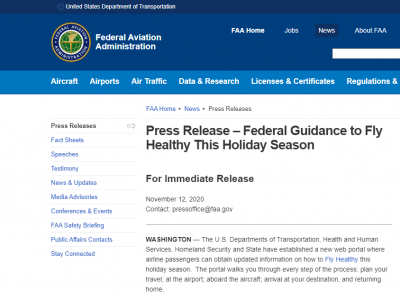 FAA: Federal Guidance to Fly Healthy This Holiday Season