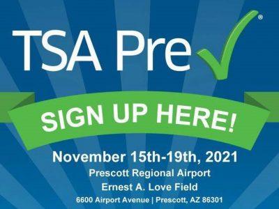Prescott Regional Airport Hosts TSA Pre✓® Enrollment Event November 15-19, 2021